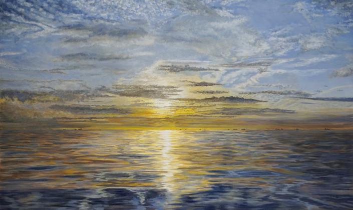 IJmuiden Noordzee met Ondergaande Zon - Olieverf - Pieter Broertjes