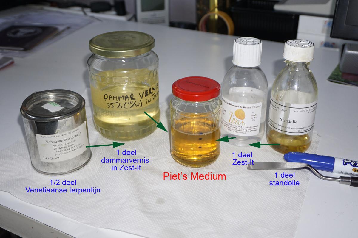Recepet Piet's Medium: zest-it, standolie, dammarvernis en Venetiaans Terpentijn