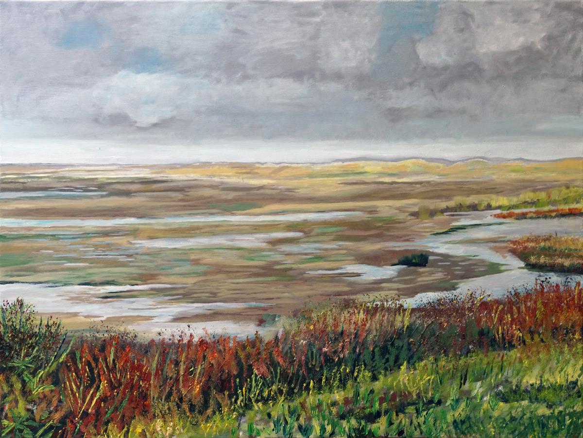 noordvaarder, groene strand, terschelling, wadden, zand, strand, Walvisvaarder, slenk, schilderij, olieverf, Pieter Broertjes, canvas, duinen, slenk