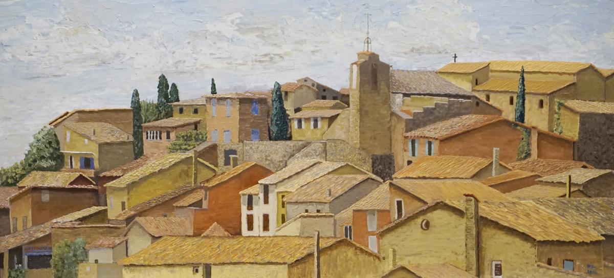 Roussillon, Frankrijk, stadje, oker, okerkleurig, dakpannen, rood, geel, oranje, violet, nauwe straatjes, schilderij, olieverf, schilder Pieter Broertjes, kerkje, typische witte huizen, centrum, toeristisch, okerwinning