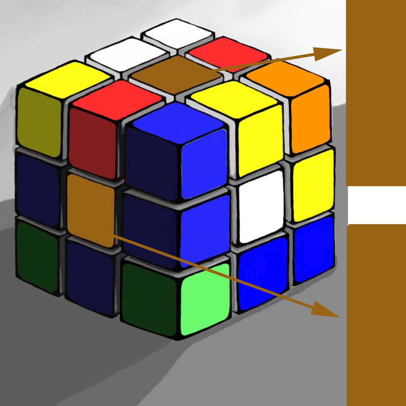 Kleurperceptie: Kubus - oranje - geel - bruin.