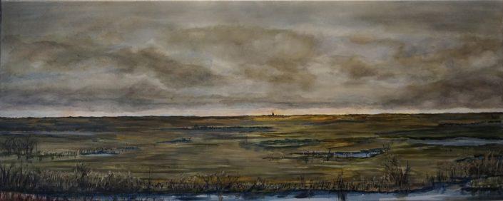 Skyline, A2, Abcoude - polder - Olieverf - Pieter Broertjes