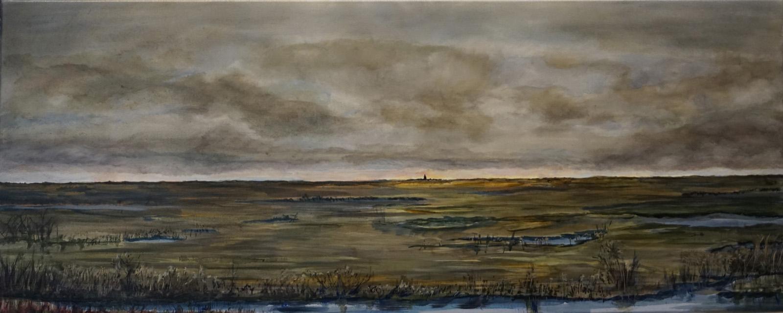 skyline, A2, polder, december, middag, donkere wolken, regenachtig, zonlicht, oplichtende horizon, kerktoren, kerk, water, sloten, oplichten, helder, spiegelend, wateroppervlak