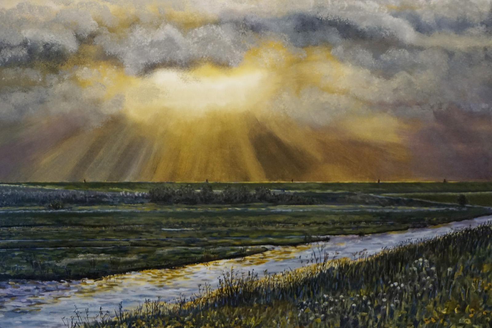 zierikzee, polder, achter de dijk, wolkendek, schemering