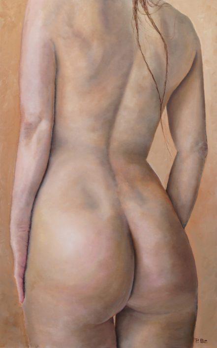 Tors, vrouw, rugzijde - Olieverf op paneel - Pieter Broertjes