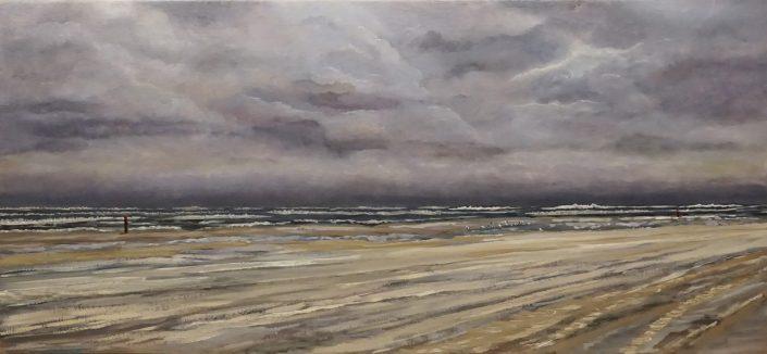 Terschelling Impressie Oktoberstorm - Olieverf - Pieter Broertjes