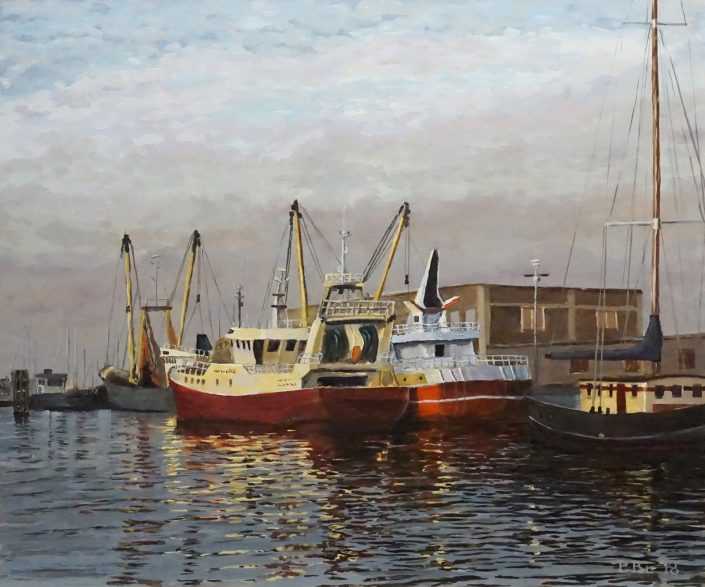 Breskens Vissershaven - Olieverf - Pieter Broertjes