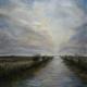 Koudum - Jan Broerskanaal met zicht op de Morra en Hemelum - Olieverf - Pieter Broertjes