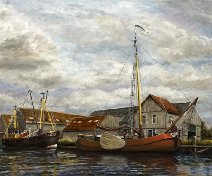 Workum - Werkhaven - Olieverf - Pieter Broertjes